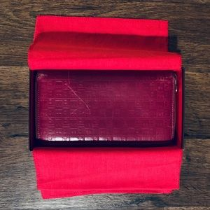 "Bally Soft Red Monogram ""B"" Leather Wallet"
